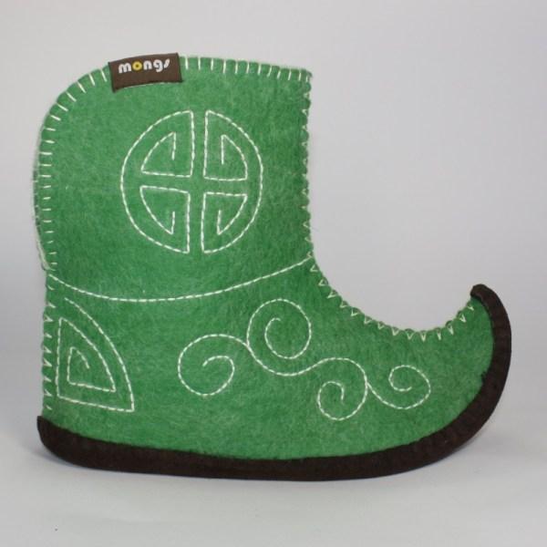 Warme Hausschuhe aus Filz mit Ledersohle für Damen und Herren in der Farbe Grün und in der typisch mongolischen Form - Ultra Mongs Grün