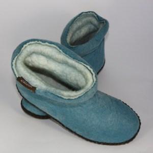Warme Hausschuhe aus Filz mit Ledersohle und gestauchtem Schaft für Damen in der Farbe Petrol - Lady Mongs Petrol