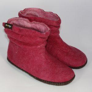 Warme Hausschuhe aus Filz mit Ledersohle und gestauchtem Schaft für Damen in der Farbe Pink - Lady Mongs Pink