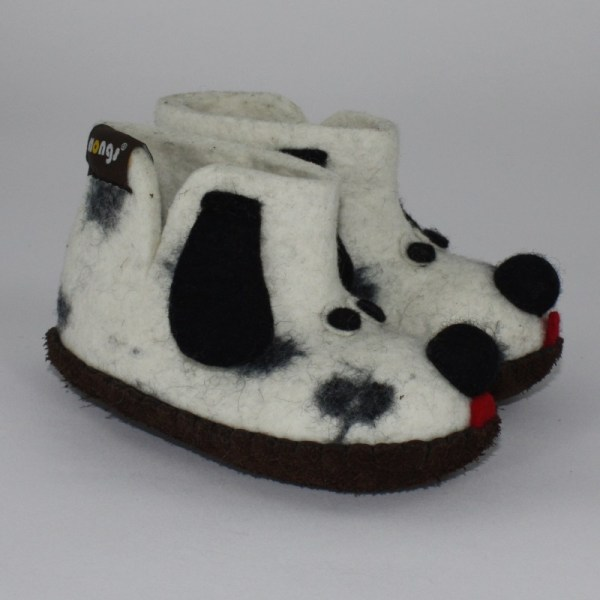 Warme Hausschuhe aus Filz mit Ledersohle für Babies und Kinder als Hundemotiv als Dalmatiner - Baby Dogs Dalmatiner