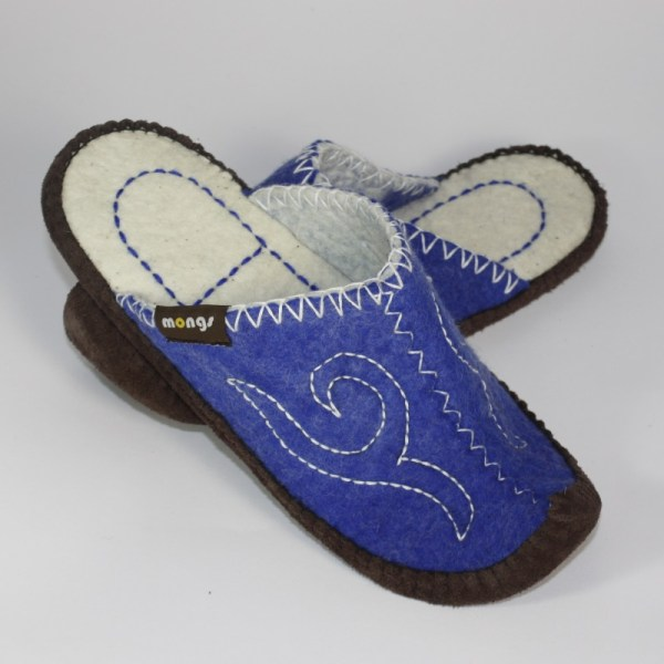 Schlappen aus Filz mit Ledersohle und hochgestellter Spitze für Damen und Herren in der Farbe Blau - Classic Mongs Blau