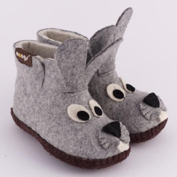 Warme Hausschuhe aus Filz mit Ledersohle für Babies und Kinder als Hase in der Farbe Grau - Baby Buny Grau