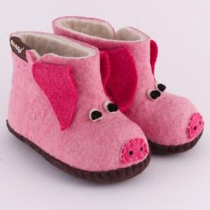 Warme Hausschuhe aus Filz mit Ledersohle für Babies und Kinder in der Farbe Rosa - Baby Piggy Rosa