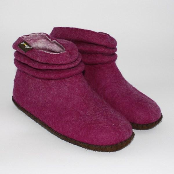 Warme Hausschuhe aus Filz mit Ledersohle und gestauchtem Schaft für Damen in der Farbe Magenta - Lady Mongs Magenta