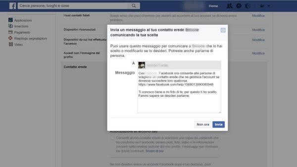 contatto erede facebook