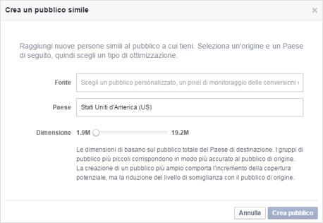 Creazione pubblico simile Facebook
