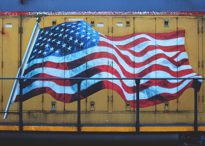 Flag on train car