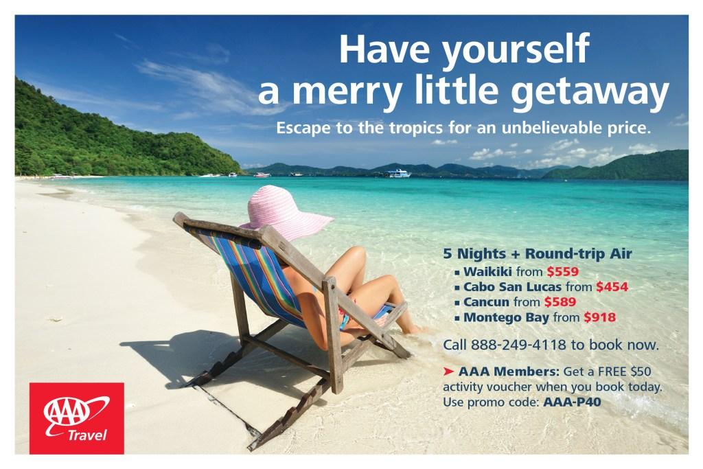 Merry Little Getaway postcard (front)