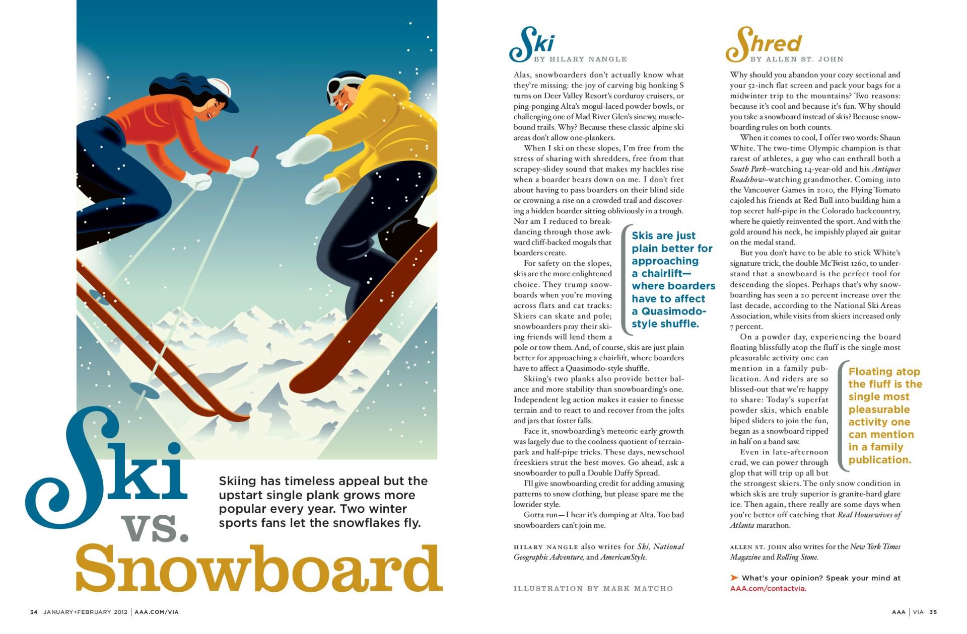 Ski vs. Snowboard feature
