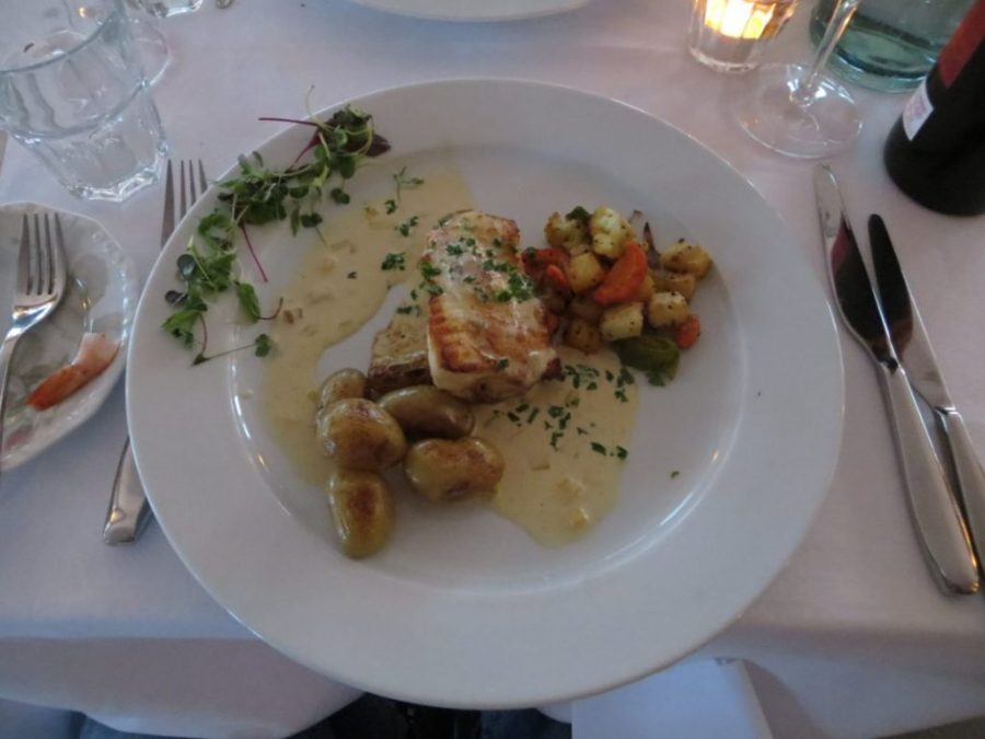 "Trout from ""Hagavatn"" Snæfellsnes, potatoes, leek, almonds and citrus beurre noisette"