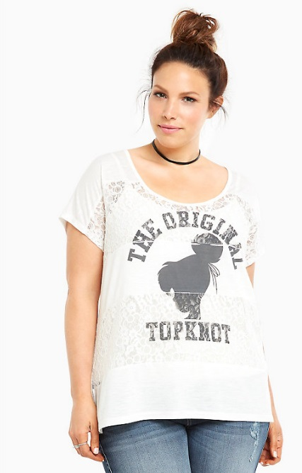 Disney Tinkerbell Collection Topknot Lace Inset Tee