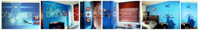 Airplanes Mural - Aircraft Room Wall Design - Final Painting - Monica Yepes - Children´s Murals - Muralist New York City - Miami, FL