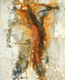 Der Wanderer - Baumaterial, Marmormehl, Sande und Beizen auf Leinwand - 65 x 80 cm