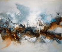 Entstehung - Acryl, Beizen und Schellack auf Leinwand - 100 x 120 cm (verkauft)