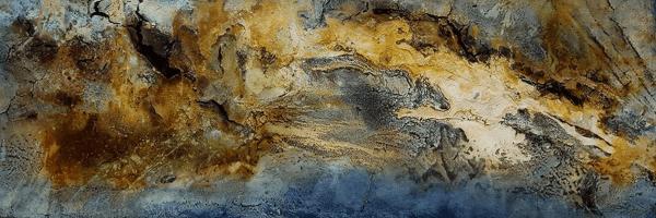 Etwas Neues - Knochenleim, Marmormehl, Pigmente und Tuschen auf Leinwand - 150 x 50 cm