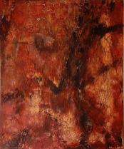 Flucht aus Aleppo - Marmormehl, Pigmente, Wachs und Tuschen auf Leinwand - 120 x 100 cm