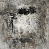 Grisaille II - Marmormehl, Pigmente, Beizen und Öle auf Leinwand - 100 x 100 cm