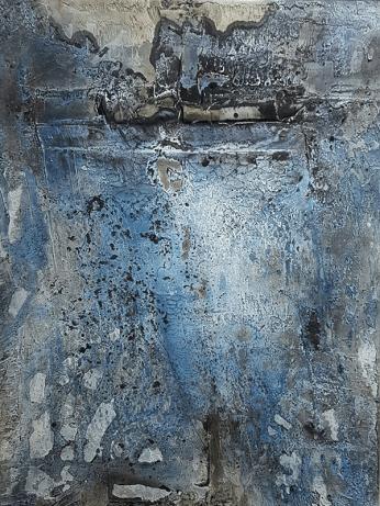 Grisaille blau - Marmormehl, Pigmente und Öle auf Leinwand - 60 x 80 cm