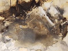Im Fluss der Weite - Knochenleim, Marmormehl, Kaffee, Pigmente und Schiefermehl auf Leinwand - 60 x 80 cm