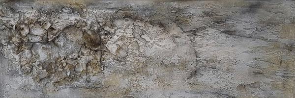 Indigo II - Marmormehl, Sumpfkalk und Tuschen auf Leinwand - 120 x 40 cm (verkauft)