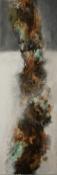 Inspiration im Fluss - Acryl, Beizen und Pigmente auf Leinwand - 120 x 40 cm