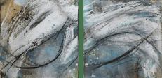 Lass mich fliegen - Baumaterial, Tuschen und Pigmente auf Leinwand - 40 x 40 cm