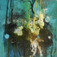 Petit Bleu I - Acryl und Pigmente auf Buchbinderpappe - 30 x 30 cm