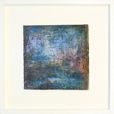 Phantasie in Blau II - Sumpfkalk und Pigmente, Fresko auf Holz - 30 x 30 cm