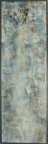 Transparenz Bleu II - Sumpfkalk, Marmormehl und Pigmente auf Holz, gerahmt - 120 x 40 cm
