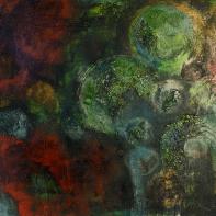 Turbulenzen in Grün - Marmormehl, Pigmente und Öle auf Leinwand - 80 x 80 cm (verschenkt)