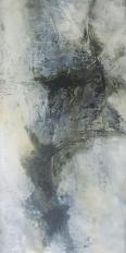Serie ZEN - ZEN I - Marmormehl, Tuschen, Pigmente, Beizen und ZEN-Tusche-Strich auf Leinwand - 60 x 120 cm