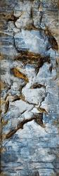Zerbrochen und doch ganz - verkauft Zerbrochen und doch ganz - Knochenleim, Beizen, Tuschen und Marmormehlschüttungen auf Leinwand - 120 x 40 cm (verkauft)