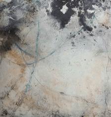 Das Orakel II - Seidelbastpapier, Baumaterial, Sumpfkalk, Pigmente, Tuschen – 30 x 30 cm – Kunstfabrik Hannover 2017