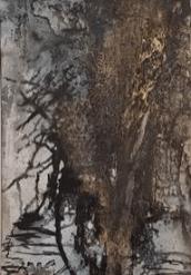 Entschieden II – Marmormehl, Tuschen, Pigmente, Gold-Zen-Strich – 50 x 70 cm – LW - Kunstakademie Allgäu - 2017