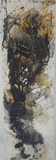 Entschieden IV – Marmormehl, Tuschen, Pigmente, Zen-Strich – 50 x 70 cm – LW - Kunstakademie Allgäu - 2017