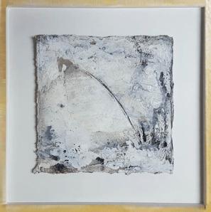 Zarte Versuchung - Seidelbastpapier, Baumaterial, Sumpfkalk, Pigmente, Tuschen – 30 x 30 cm – Kunstfabrik Hannover 2017
