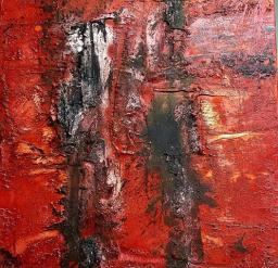 Zwei Abstrakte – Marmormehl, Pigmente, Tuschen, Wachs, Öl, LW – 80 x 80 cm – 2017