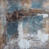 DIE GESTE I - 2018, Sumpfkalk, Haftputzgips, Pigmente, Tuschen auf Leinwand, 100 x 100 cm