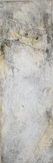 DIE TÄNZERIN - 2018, Sumpfkalk, Marmormehl, Pigmente auf Leinwand, 150 x 50 cm