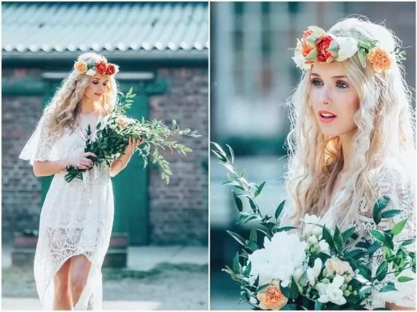 Hippie Look mit Blumenkranz freie Visagistin NRW
