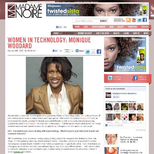 Monique Woodard in Madame Noire online magazine