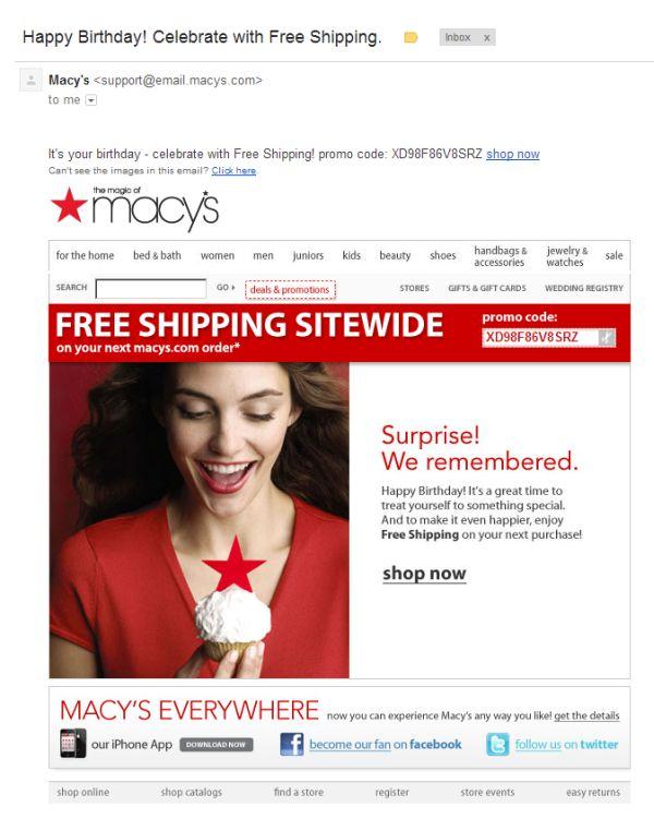 Macy's Birthday Email