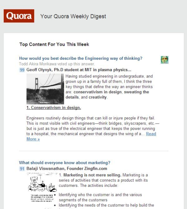 Click to see the full page Quora Weekly Digest email