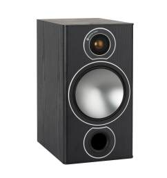 bronze 2 grille less bookshelf speakers with a black oak vinyl finish  [ 1600 x 1200 Pixel ]