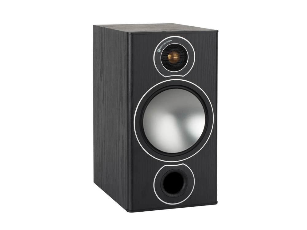 medium resolution of bronze 2 grille less bookshelf speakers with a black oak vinyl finish