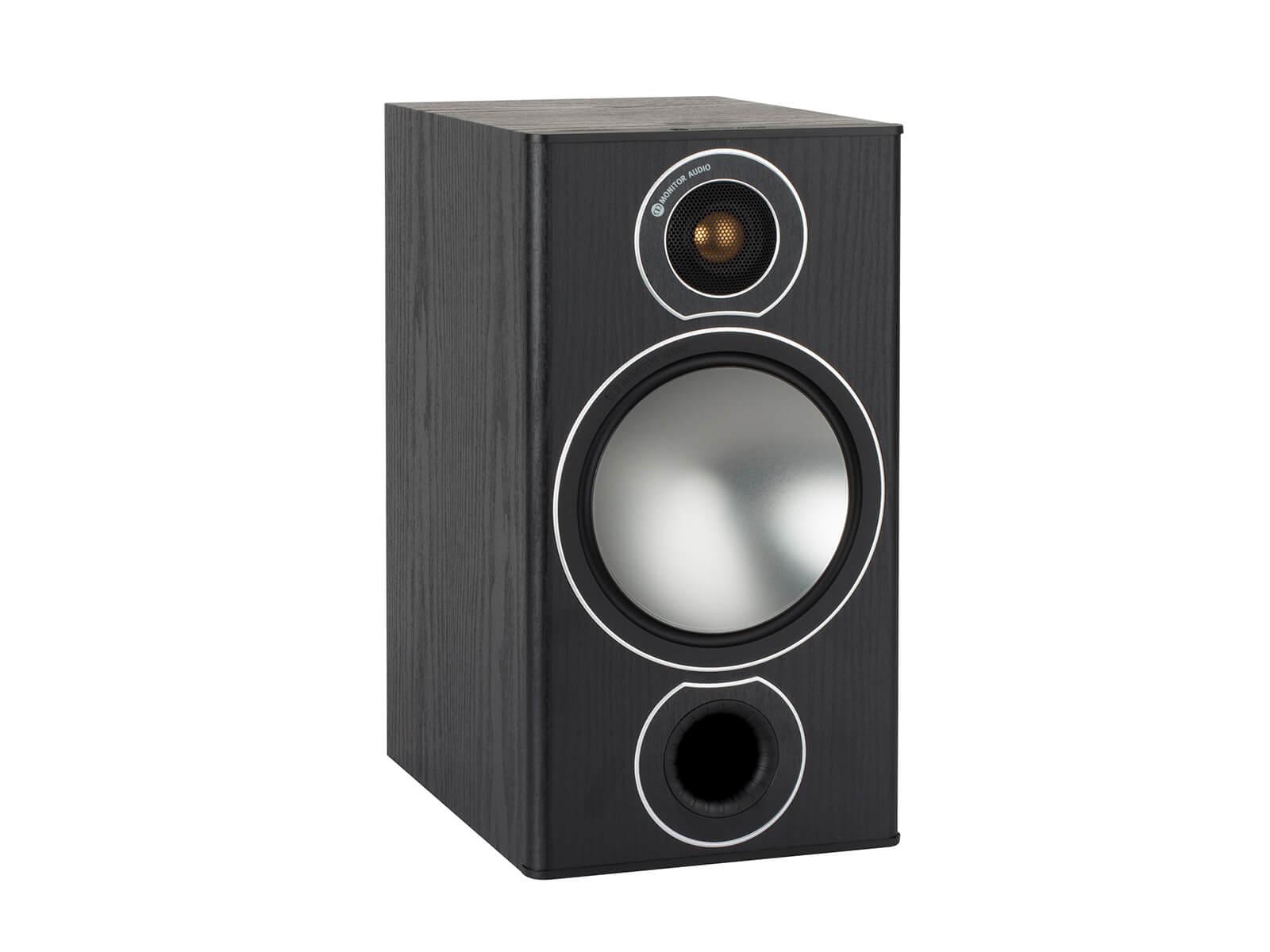 hight resolution of bronze 2 grille less bookshelf speakers with a black oak vinyl finish