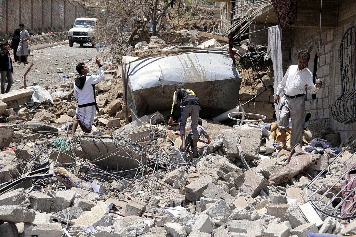 Un edifico destruido tras un bombardeo saudí en Saná, la capital de Yemen.