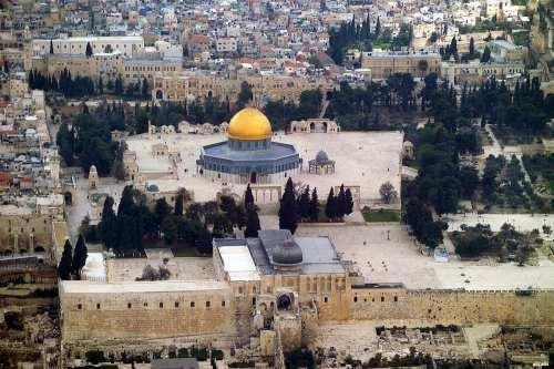 Vista de la Mezquita de Al-Aqsa y la Cúpula de la Roca en Jerusalén