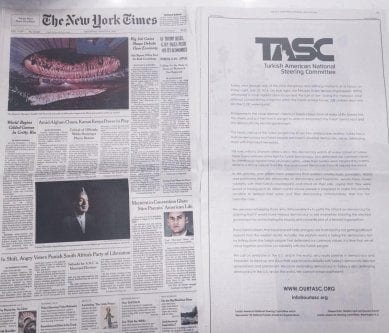 Un artículo publicado en el NewYork Times por una ONG turco-estadounidense advierte que Occidente defraudó al pueblo turco por su actitud ante el golpe de Estado