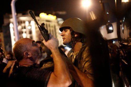 turkish-coup-attempt-turkish-soldier-clashing-with-man-in-Taskim-Square